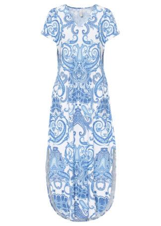 Sukienka bonprix jasnoniebiesko-biel wełny paisley