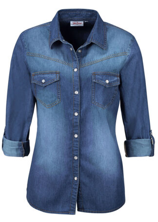 Koszula dżinsowa bonprix niebieski