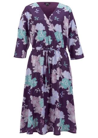 Sukienka z żorżety na podszewce bonprix ciemny lila z nadrukiem