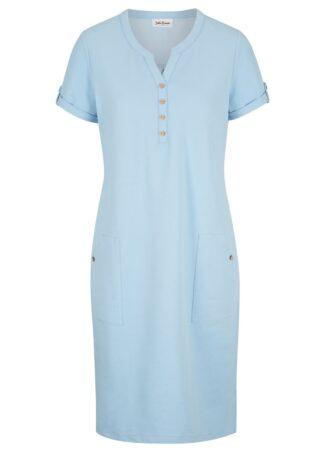 Sukienka shirtowa w optyce dżinsowej bonprix jasnoniebieski