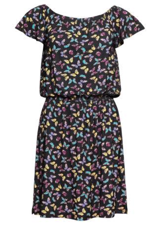 Sukienka shirtowa bonprix czarny z nadrukiem