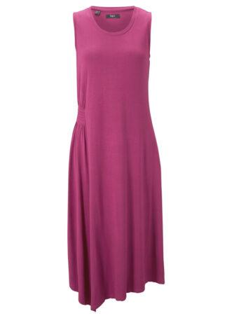 Sukienka z dżerseju z asymetryczną linią dołu i przeszyciem cienkimi gumkami bonprix fioletowy