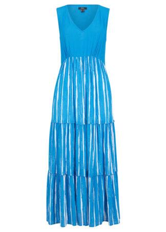 Długa sukienka z tkaniny z kreszowanej wiskozy bonprix niebieski morski - biały w paski