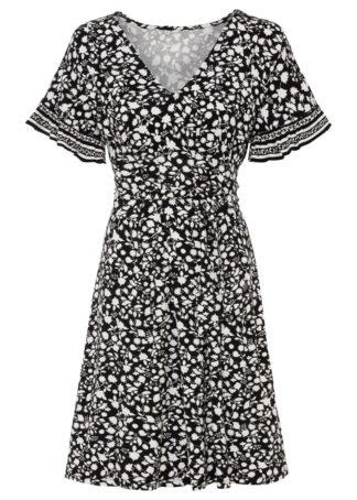 Sukienka z nadrukiem LENZING™ ECOVERO™ bonprix czarno-biel wełny w roślinny wzór