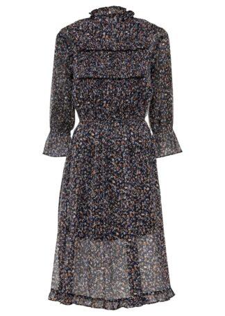 Sukienka szyfonowa bonprix czarny wzorzysty