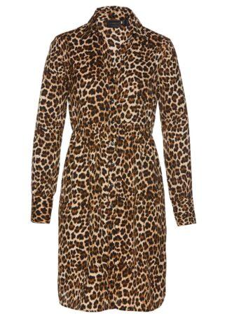 Sukienka szmizjerka bonprix w cętki leoparda