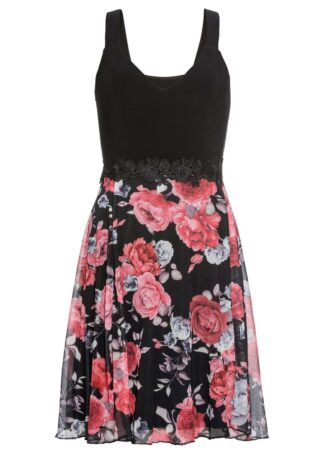 Sukienka z częścią spódnicową z siatkowego materiału z nadrukiem bonprix czarno-czerwony w kwiaty