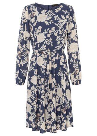 Sukienka z nadrukiem bonprix ciemnoniebiesko-beżowy w kwiaty