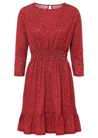 Sukienka z nadrukiem bonprix czerwony w kropki