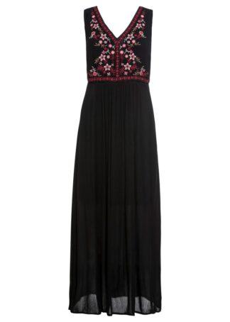 Długa sukienka z haftem bonprix czarny
