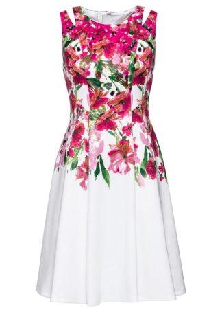 Sukienka z nadrukiem bonprix biało-różowy w kwiaty