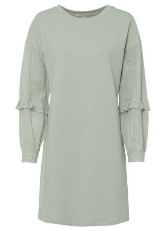 Sukienka dresowa z rękawami z ażurowym haftem bonprix zielonoszary