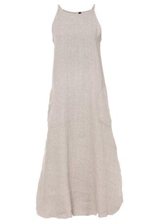 Sukienka lniana z naszywanymi kieszeniami bonprix Sukienka naturalny