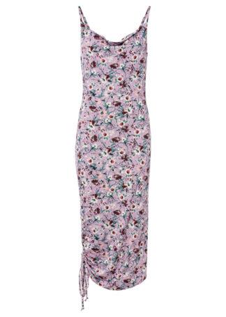 Sukienka shirtowa z marszczeniem z boku bonprix kolor bzu w roślinny wzór