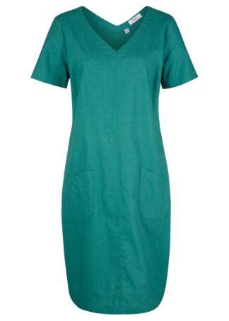 Sukienka z lnu z dekoltem w serek bonprix dymny szmaragdowy