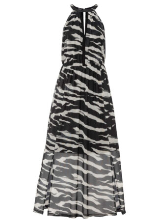 Długa sukienka z nadrukiem bonprix czarny z nadrukiem