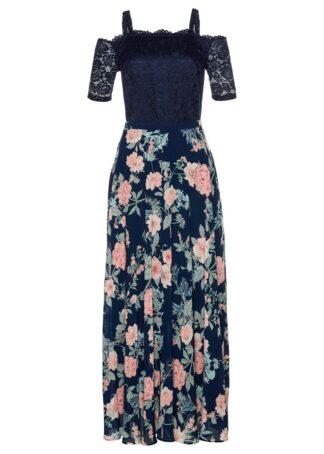 Sukienka szyfonowa z nadrukiem i koronką bonprix ciemnoniebieski w kwiaty