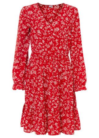 Sukienka bonprix czerwono-biały w kwiaty