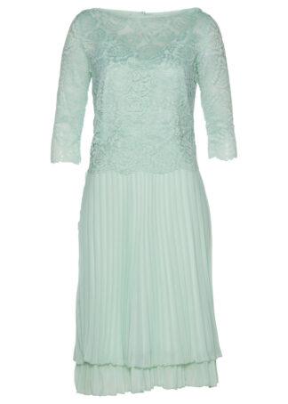 Sukienka szyfonowa 2-częściowa z koronką i plisowaną częścią spódnicową bonprix kryształowy miętowy