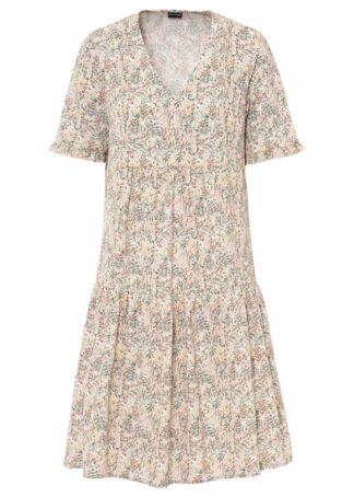 Sukienka z falbanami bonprix beżowy w roślinny wzór