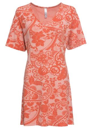 Sukienka shirtowa z dekoltem w serek bonprix czerwony cynamonowy wzorzysty