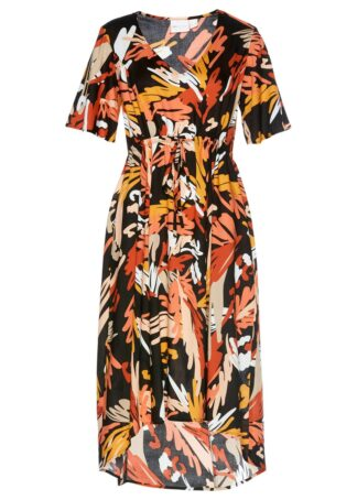 Długa sukienka z wiskozy z nadrukiem bonprix czarno-matowy pomarańczowy w graficzny wzór
