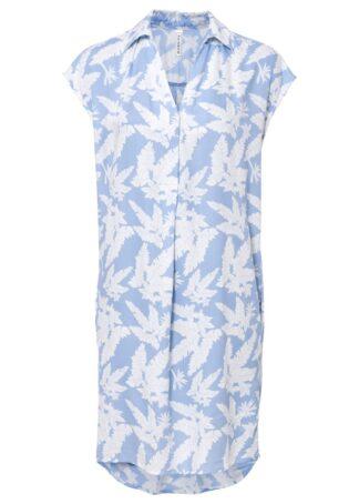 Sukienka bonprix perłowy niebieski - biały