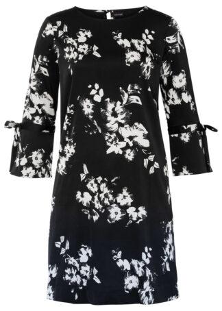 Sukienka w kwiaty bonprix czarno-biel wełny w kwiaty