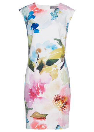 Sukienka bonprix biały w kolorowe kwiaty