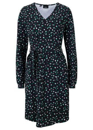 Sukienka kopertowa bonprix czarny z nadrukiem