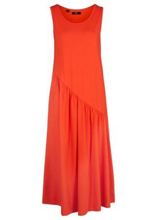 Sukienka shirtowa z asymetrycznymi falbanami bonprix głęboki pomarańczowy