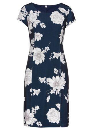 Sukienka shirtowa bonprix ciemnoniebiesko-biały w kwiaty