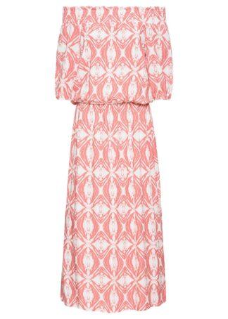 Sukienka wzorzysta z dekoltem carmen bonprix pomarańczowo-biały w graficzny wzór