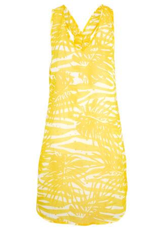 Sukienka plażowa bonprix żółto-biały w kwiaty