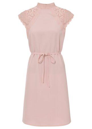 Sukienka z rękawami koronkowymi bonprix pastelowy jasnoróżowy