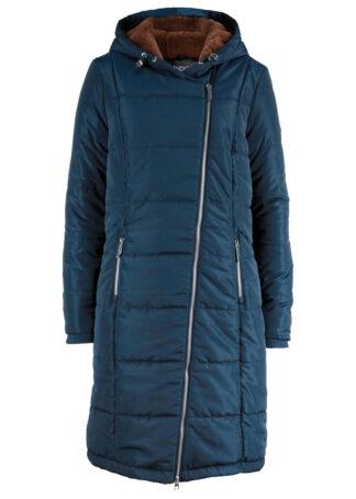 Płaszcz pikowany z asymetrycznym zamkiem bonprix Płaszcz pik as.zam c.nieb