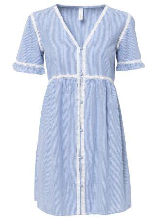 Sukienka bonprix biało-niebieski w paski