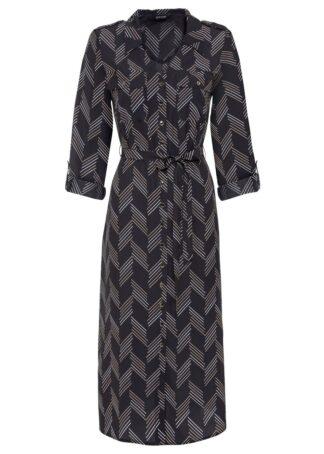 Sukienka szmizjerka z wiązanym paskiem bonprix czarny z nadrukiem