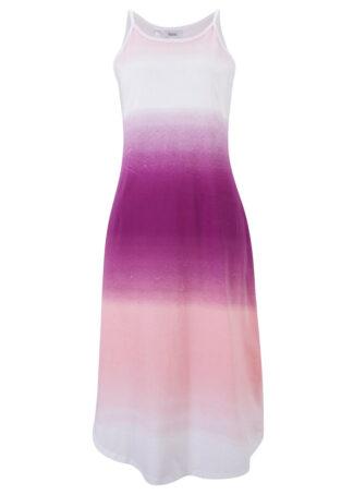 Sukienka midi w cieniowanym kolorze bonprix fiołkowy bez - matowy lawendowy - biały z nadrukiem