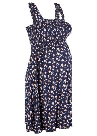 Sukienka ciążowa z dżerseju bonprix ciemnoniebieski z nadrukiem