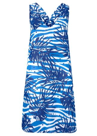 Sukienka plażowa bonprix niebiesko-biały w kwiaty