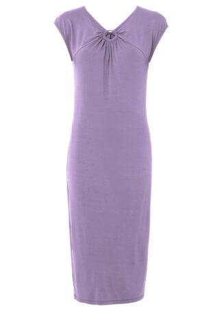 Sukienka ołówkowa z rozcięciem bonprix w kolorze bzu