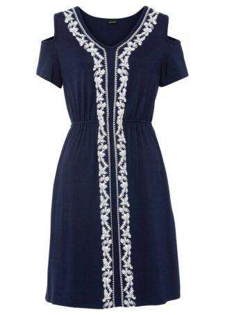 Sukienka z dżerseju z nadrukiem bonprix ciemnoniebieski z nadrukiem