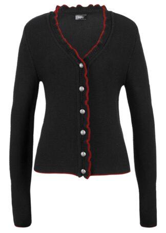 Sweter rozpinany ludowy z falbankami bonprix czarno-truskawkowy
