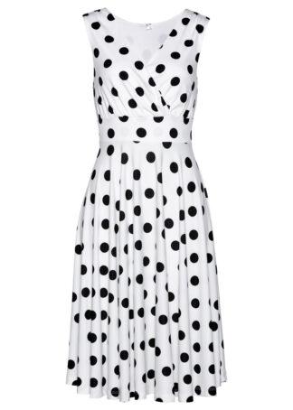 Sukienka shirtowa bonprix biało-czarny w kropki