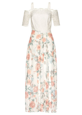 Sukienka szyfonowa z nadrukiem i koronką bonprix biel wełny w kwiaty