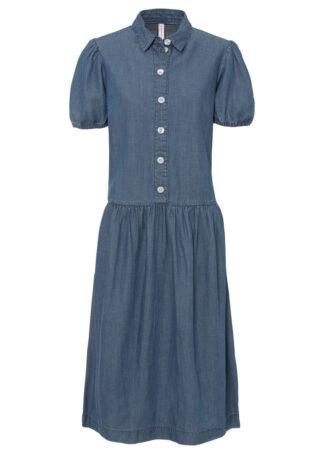 Sukienka dżinsowa z rękawami balonowymi TENCEL™ Lyocell bonprix niebieski denim