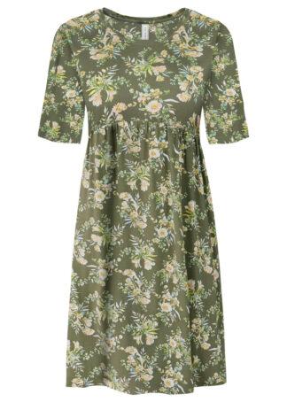 Sukienka shirtowa w kwiaty bonprix oliwkowy w kwiaty