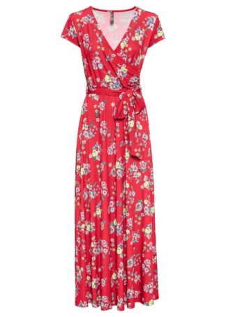 Długa sukienka z założeniem kopertowym bonprix truskawkowy w kwiaty