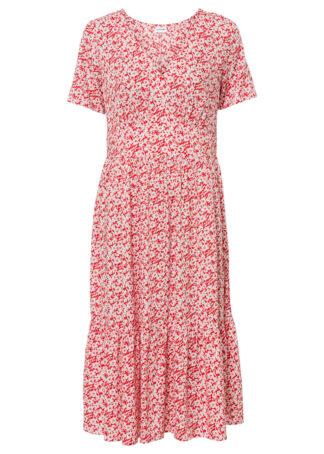 Sukienka o linii litery A bonprix truskawkowo-biały w kwiaty
